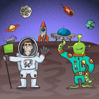 宇宙飛行士とエイリアン
