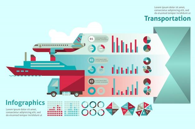 トランスポートインフォグラフィックテンプレートセット