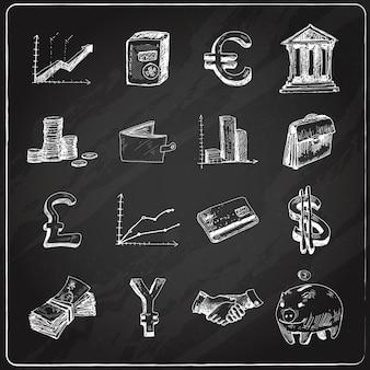 金融のアイコンセット黒板