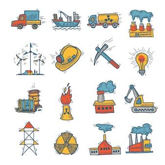 Промышленный эскиз значок набор