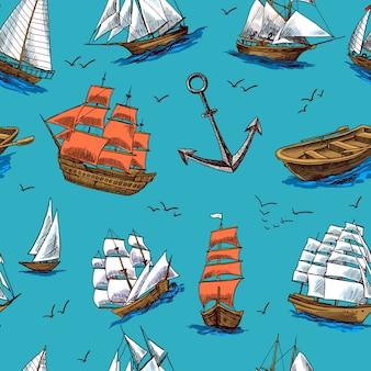 船やボートは、シームレスなパターンをスケッチします。