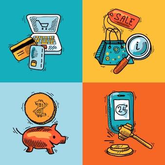 Концепция эскиза дизайна электронной коммерции