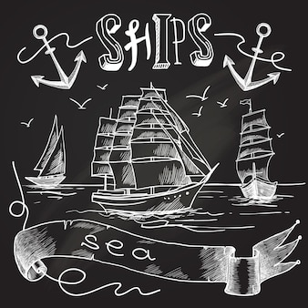 黒板、船のスケッチ図