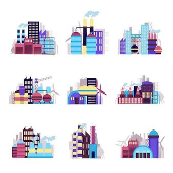 Набор иконок промышленного здания