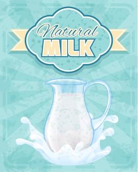 Иллюстрация натуральный молочный кувшин