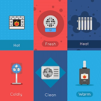 暖房と冷房のミニポスターセット新鮮な冷たい清潔で暖かい空気標識分離ベクトルイラスト