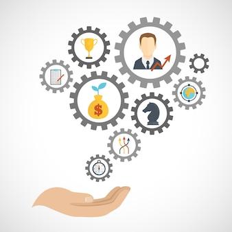Композиция элементов планирования бизнес-стратегии плоская