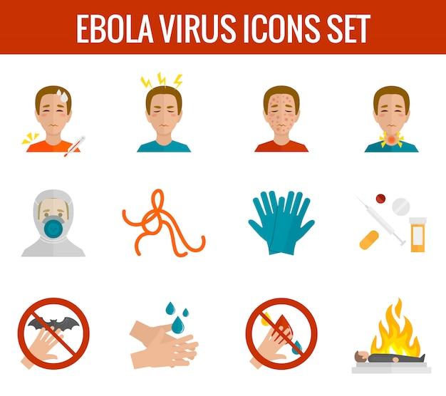 Вирус эбола иконки плоский