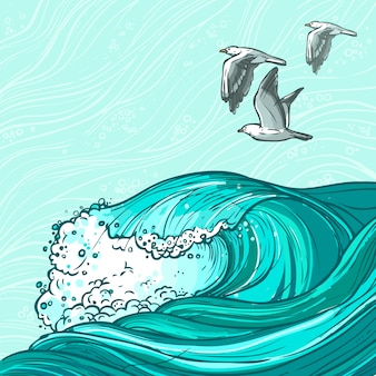 Иллюстрация морских волн