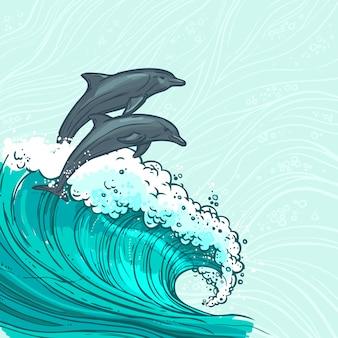 イルカの図と海の波