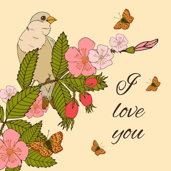 鳥とビンテージ花イラスト