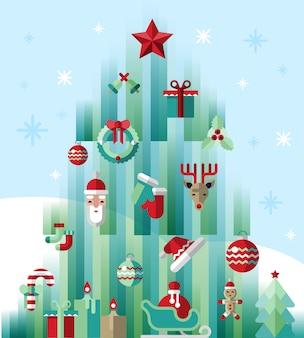 クリスマスツリーのモダンなイラスト