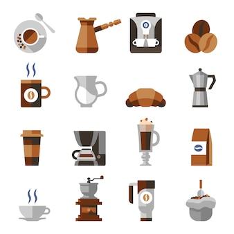 Плоский набор иконок кофе