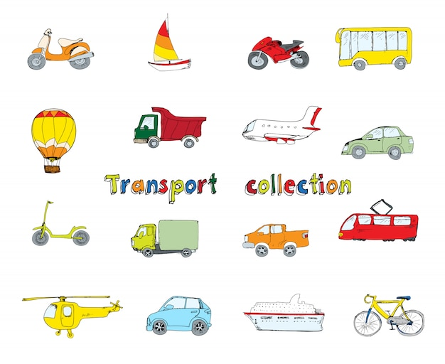 Набор значков транспорта цветной