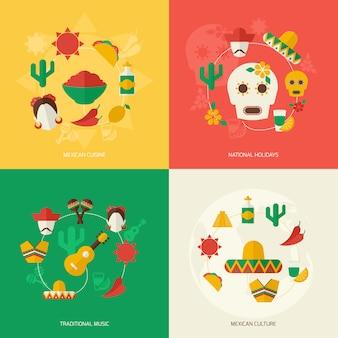 メキシコの平らな要素構成セット