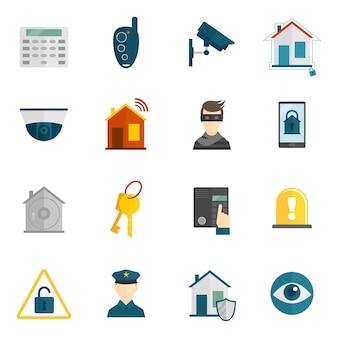 Значок домашней безопасности плоский