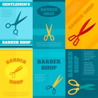 Парикмахерская плакат набор шаблонов