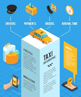 タクシーサービス等尺性インフォグラフィックレイアウト