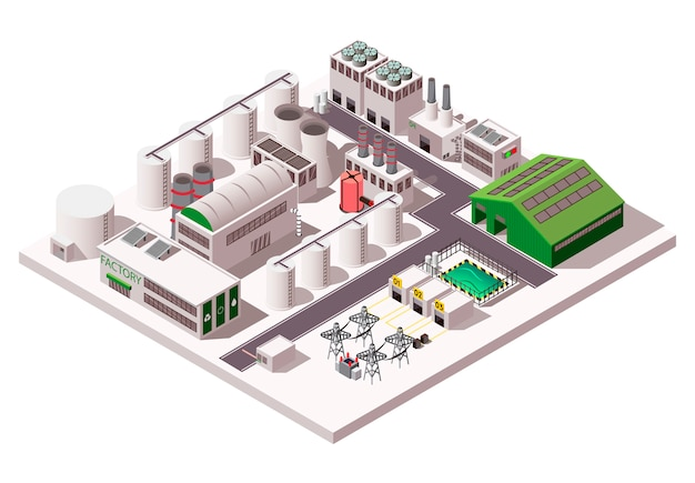 Фабрика изометрическая композиция