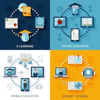Набор иконок электронного обучения