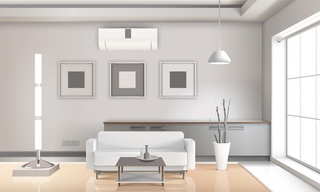Реалистичные светлые тона интерьера гостиной