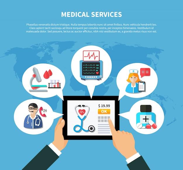 Медицинские услуги онлайн плоский дизайн