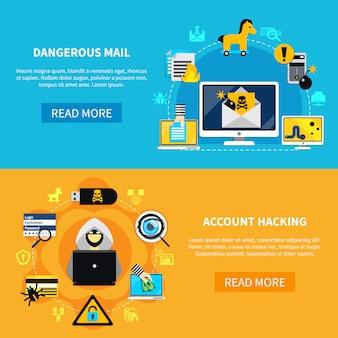 危険なメールとアカウントハッキングフラットバナー