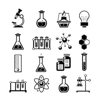 Набор иконок химии черный