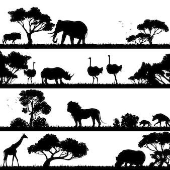 アフリカの風景シルエット