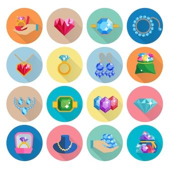 Плоский набор иконок из драгоценных камней с роскошными серьгами, кольцами, браслетами и ожерельями
