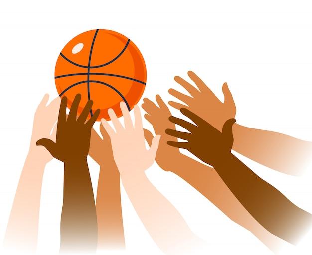 バスケットボールの試合の瞬間のクローズアップ