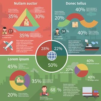 世界的な物流インフォグラフィックフラットポスター