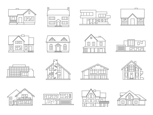 Дом иконки плоский набор