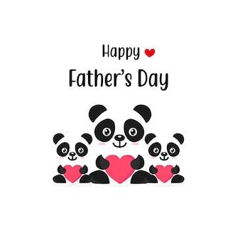 かわいいフクロウのキャラクターと幸せな父の日カード。