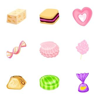 おいしいお菓子のアイコンセット、漫画のスタイル