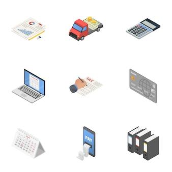 Набор иконок для воспроизведения данных, изометрический стиль