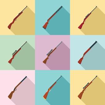 狩猟用ライフルのアイコンセット、フラットスタイル
