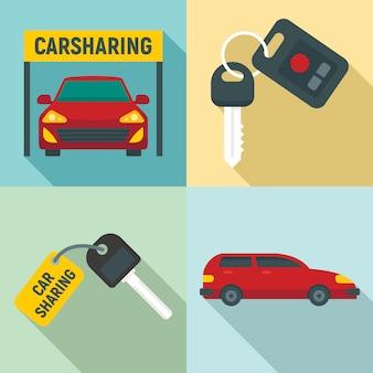 Набор иконок совместного использования автомобилей, плоский стиль