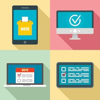 Набор иконок онлайн голосования, плоский стиль