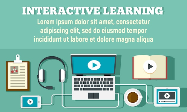 Интерактивный учебный баннер, плоский стиль