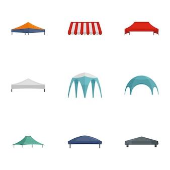 商業テントアイコンセット、フラットスタイル