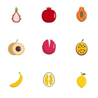 Набор иконок плода, плоский стиль