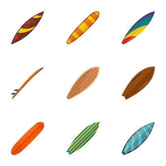 Океан для серфинга набор иконок, плоский стиль