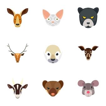 動物の頭のアイコンセット、フラットスタイル