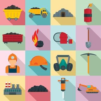 Набор иконок угольной промышленности, плоский стиль