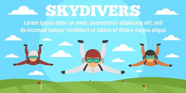 スポーツスカイダイバーコンセプトバナーテンプレート、フラットスタイル
