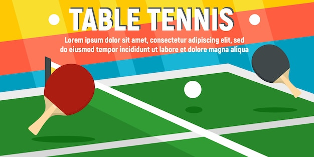 Настольный теннис концепция баннера шаблон, плоский стиль