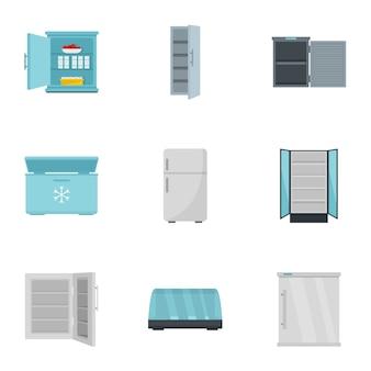 Рынок холодильник значок набор, плоский стиль
