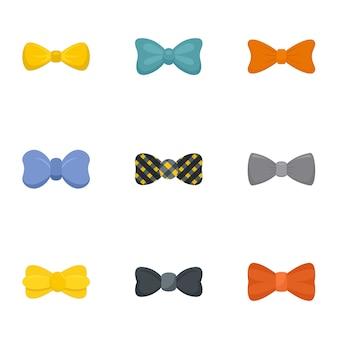 男性の蝶ネクタイのアイコンセット、フラットスタイル