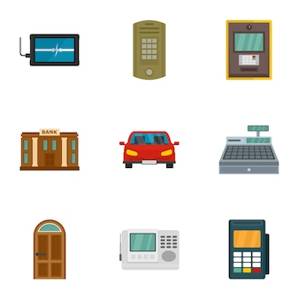 セキュリティで保護された金融アイコンセット、フラットスタイル